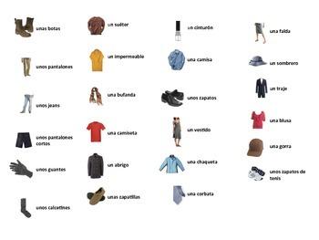 Spanish Clothing Task Cards, Vocabulary
