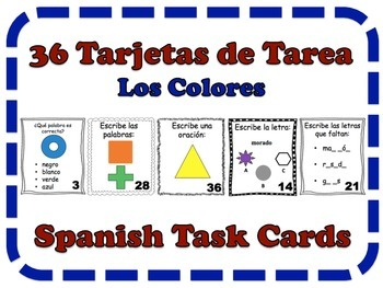 Spanish Colors Task Cards, Vocabulary