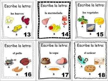 Spanish Food and Drinks Task Cards, Vocabulary