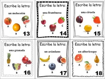 Spanish Fruit Task Cards, Vocabulary