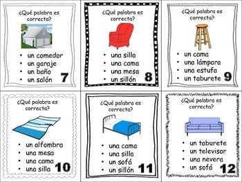 Spanish House Rooms Furniture Task Cards Vocabulary
