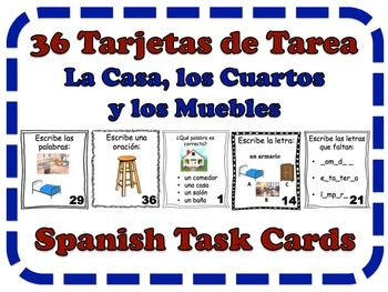 Spanish House, Rooms & Furniture Task Cards, Vocabulary