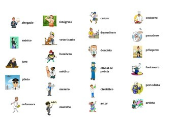 Spanish Jobs and Professions Task Cards, Vocabulary