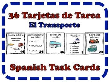 Spanish Transportation and Vehicles Task Cards, Vocabulary