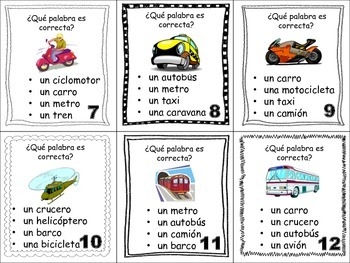 Spanish Transportation and Vehicles Task Cards, Vocabulary