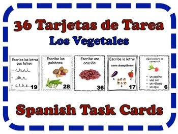 Spanish Vegetables Task Cards, Vocabulary