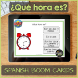 Spanish Task Cards about telling time for Boom Learning -