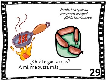 Spanish Task Cards and Vocabulary Game for Food Set 1 La Comida