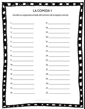 Spanish Task Cards and Vocabulary Game for Food Set 1 La Comida