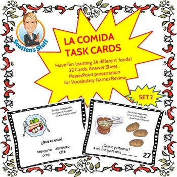 Spanish Task Cards and Vocabulary Game for Food Set 2 La Comida