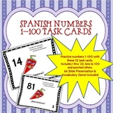 Spanish Task Cards and Vocabulary Game for Numbers 1-100