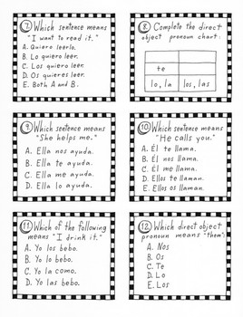 Spanish Task Cards ~direct object pronouns ~No prep ~printable ~Task cards
