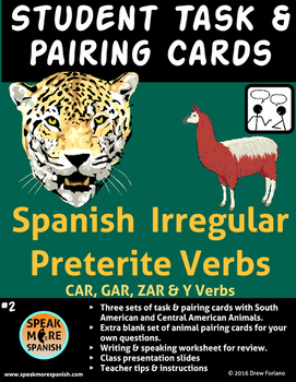 Spanish Task Cards for Irregular Preterite Verbs* Verbos del Pretérito Irregular