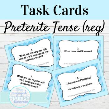 Spanish Preterite Tense Task Cards for Regular Verbs: El Pretérito