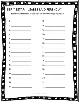 Spanish Task Cards for Ser and Estar