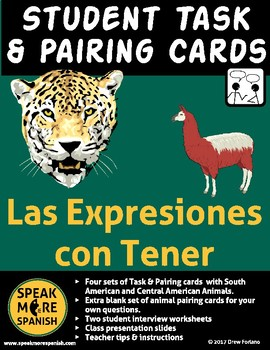 Spanish Task & Pairing Cards for Tener Expressions. Las Expresiones con Tener