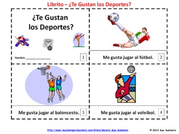 spanish te gustan los deportes booklet spanish sports by sue summers. Black Bedroom Furniture Sets. Home Design Ideas