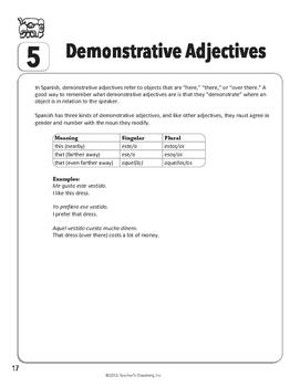 Spanish Teacher's Handbook: Demonstrative Adjectives
