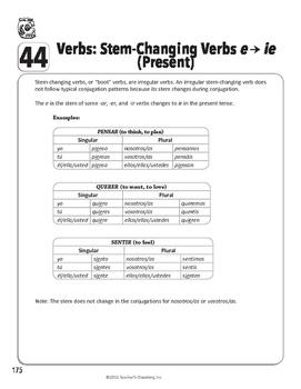 """Spanish Teacher's Handbook: Stem-changing Verbs """"e -> ie"""" (Present)"""