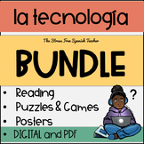 Spanish Technology Tecnología BUNDLE with reading, puzzles