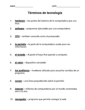 Spanish Technology Terms (K-4)