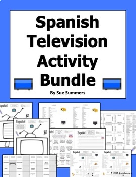 Spanish TV / Television Bundle - Vocabulary, Crossword, Puzzle, Sketch and More!