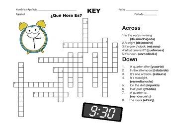 Spanish Telling Time Crossword - ¿Qué Hora Es?