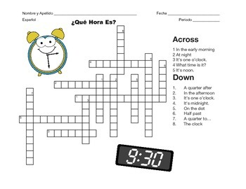 Spanish Telling Time Crossword - ¿Qué Hora Es?