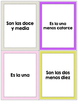 Spanish Telling Time Flash Cards   Align with Descubre 1, Chapter 1