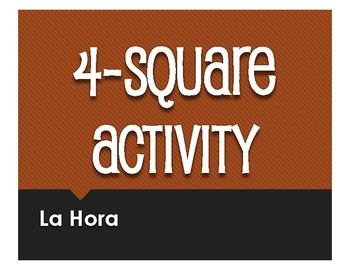 Spanish Telling Time Four Square Activity