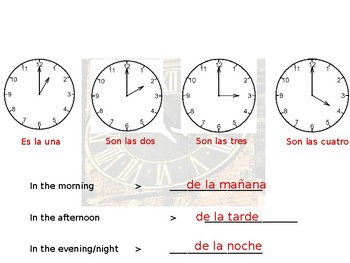 Spanish Telling Time Guided Notes