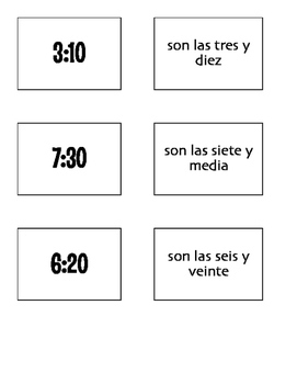 Spanish Telling Time Matching Game