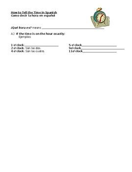 Spanish Telling Time Note Sheet