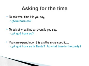 Spanish - Telling Time Notes PowerPoint
