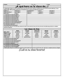 Spanish Telling Time Practice with Class Schedule for Novice Learners
