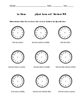 Spanish Telling Time - Review WS