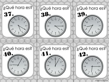 Spanish Telling Time Task Cards