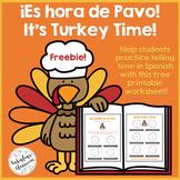 Spanish Telling Time Thanksgiving No-Prep Worksheet FREEBIE