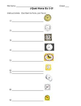 Spanish Telling Time Worksheet #3