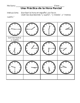 spanish telling time worksheet by sr and monsieur schepeez tpt. Black Bedroom Furniture Sets. Home Design Ideas