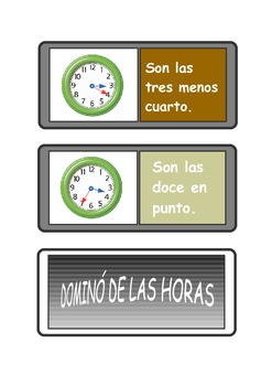 Spanish Telling the time dominoes .Dominó de las horas .