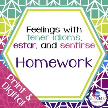 Spanish Tener, Estar, & Sentirse Homework