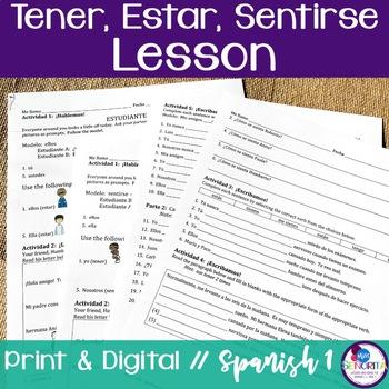Spanish Tener, Estar, & Sentirse Lesson
