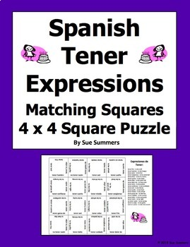 Spanish Tener Expressions 4 x 4 Matching Squares Puzzle
