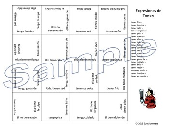 Spanish Tener Expressions Conjugated 4 x 4 Matching Squares Puzzle