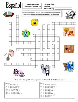 Spanish Tener Expressions Crossword Puzzle and Image IDs Worksheet & Vocabulary