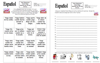 Spanish Tener Expressions Human Bingo Game Speaking Activity and Follow-Up