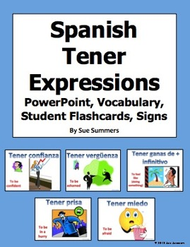 Spanish Tener Expressions PowerPoint Student Flash Cards and Signs
