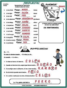 Spanish Tener Expressions Puzzles. Rompecabezas para Expresiones del Verbo Tener
