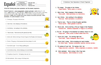 Spanish Tener Expressions and Present Progressive Worksheet